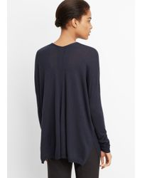 Vince - Blue Superfine Merino Blend Double V-neck Sweater - Lyst