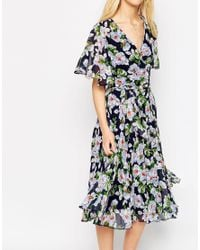 ASOS - Multicolor Pleated Wrap Midi Dress In Floral Print - Multi - Lyst