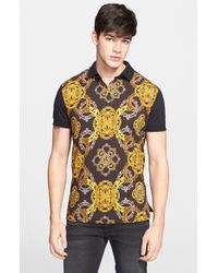 Versace Jeans - Yellow Baroque Print Polo for Men - Lyst