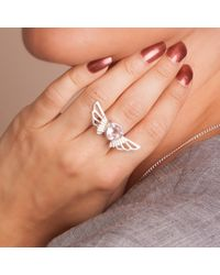 Anna Byers - Metallic Rose Quartz Wing Ring - Lyst
