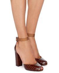 Charlotte Olympia Brown Renee Croc Embossed Calf Leather Pumps