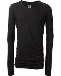 Rick Owens - Black Draped T-Shirt for Men - Lyst