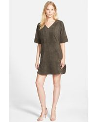 Vince Camuto | Gray Faux Suede V-neck Shift Dress | Lyst