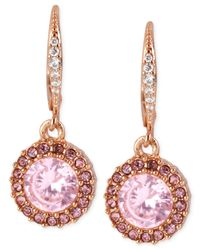 Betsey Johnson | Rose Gold-tone Pink Crystal Circle Drop Earrings | Lyst