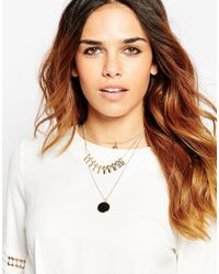 ASOS | Metallic Smooth Stone Multirow Necklace | Lyst