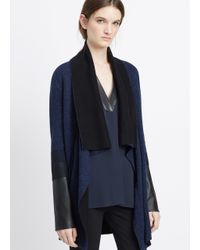 Vince | Blue Mixed Media Needle Punch Drape Cardigan | Lyst
