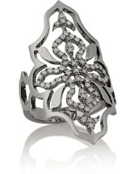 Diane Kordas | Metallic Arabesque 18-Karat Blackened Gold Diamond Ring | Lyst