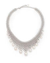Majorica | Metallic 6mm-12mm White Pearl Mesh Bib Necklace | Lyst
