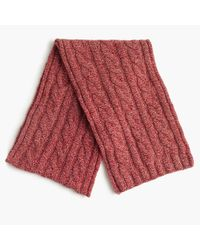 J.Crew Red Lambswool Cable Scarf for men