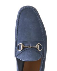 Gucci Blue Roos Suede Loafers for men