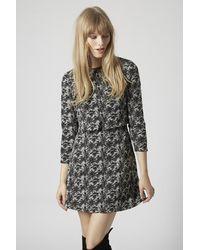TOPSHOP Black Jacquard Notch Overlay Dress