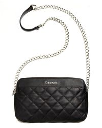 Calvin Klein | Black Quilted Leather Convertible Crossbody | Lyst