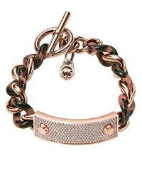 Michael Kors - Pink Twisted Pave Plaque Bracelet - Lyst