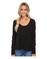 Volcom | Black Lived In Overdyed Henley | Lyst