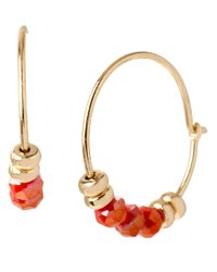 Kenneth Cole | Metallic Small Beaded Hoop Earrings | Lyst