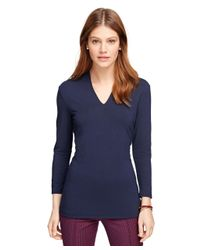 Brooks Brothers | Blue V-neck Three-quarter Sleeve Shirt | Lyst
