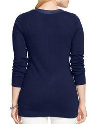 Lauren by Ralph Lauren Blue Plus Faux Leather-trimmed Sweater