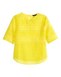 H&M Yellow Top In Broderie Anglaise
