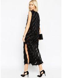 ASOS | Black Fringed Sheer Stripe Column Dress | Lyst