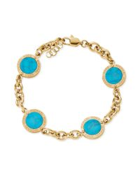 Michael Kors | Blue Goldtone Turquoise Round Station Bracelet | Lyst