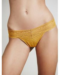 Free People | Orange Lace Trim Thong | Lyst