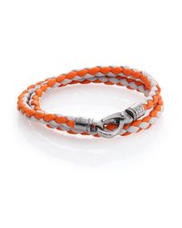 Tod's | Orange Leather Double-wrapped Bracelet | Lyst