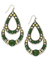 INC International Concepts | Gold-tone Green Multi-stone Large Teardrop Earrings | Lyst