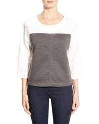 Bobeau | Gray Colorblock Three-quarter Sleeve Sweatshirt | Lyst