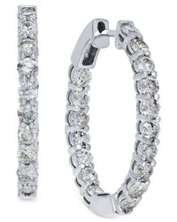Macy's | Metallic Diamond Hoop Earrings In 14k White Gold (4 Ct. T.w.) | Lyst