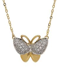 Lord & Taylor | Metallic Diamond And 14k Yellow Gold Butterfly Pendant Necklace | Lyst