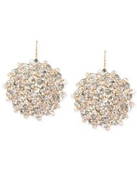 Kenneth Cole | Metallic Jet Faceted Woven Bead Round Drop Earrings | Lyst