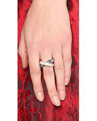 Michael Kors Pave Baguette Crossover Ring Goldblue