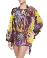 Jean Paul Gaultier - Purple Palm Leaf-print Long-sleeve Coverup - Lyst