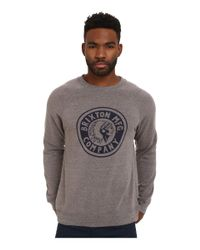 Brixton | Gray Rival Crew Fleece for Men | Lyst