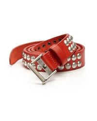 DSquared² | Red Nailhead Studded Leather Belt for Men | Lyst