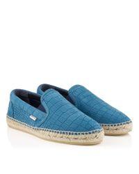 ca6adbe87d9 Jimmy Choo. Men s Blue Vlad Jeans Matt Croc Embossed Leather Espadrilles