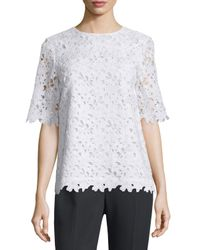 kate spade new york | White Floral Lace Short-sleeve Top | Lyst