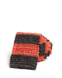 Eidos - Orange Knit Stripe Skinny Tie for Men - Lyst