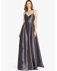 Halston Metallic Memory Taffeta Structured Gown