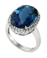 Effy | London Blue Topaz, Diamond And 14k White Gold Ring | Lyst