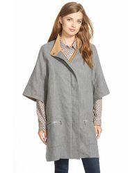 Caslon Gray Cotton Twill Zip Front Cape