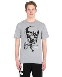 Stussy Gray Skull & Rose Printed Cotton T-shirt for men