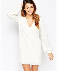 ASOS | White Shift Dress With V Front And Bell Sleeves | Lyst
