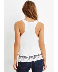 Forever 21 - Natural Embroidered-lace Trim Tank - Lyst