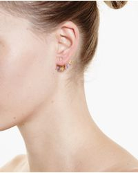 Yvonne Léon Multicolor 18k Gold And Rainbow Sapphire Lobe Earring