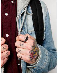 ASOS - Black Ring With Embossed Design for Men - Lyst