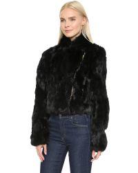 Adrienne Landau Black Fur Moto Jacket
