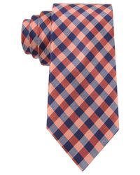 Tommy Hilfiger | Orange Color Gingham Slim Tie for Men | Lyst