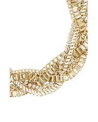 BCBGMAXAZRIA | Metallic Braided Stone Detail Necklace | Lyst