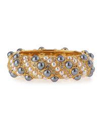 Kenneth Jay Lane - Metallic Pearly & Crystal Embellished Cuff Bracelet - Lyst